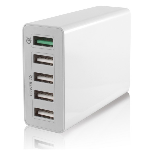 Cargador USB Pared 5 USB 10a Blanco