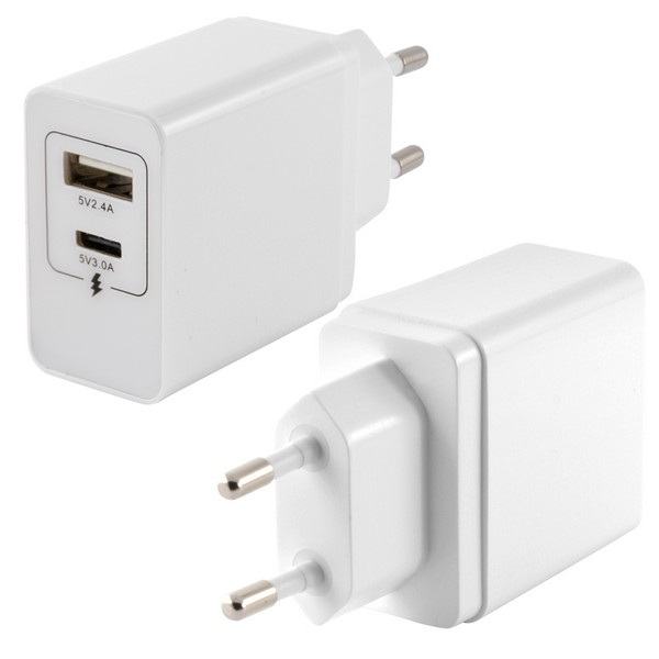 Cargador de Pared 2 USB Blanco