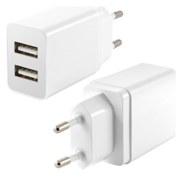 Cargador de Pared 2 USB 2.4A Blanco