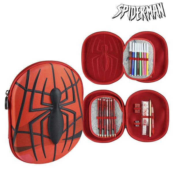 Plumier Triple Spiderman 8409 Rojo