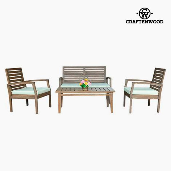 Conjunto de Sofá y Mesa Teca (4 pcs) by Craftenwood